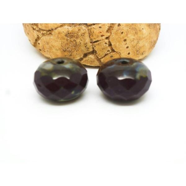 2 Perles Verre De Bohême Lilas Opal 14*8Mm Forme Potiron À Facettes - Photo n°1
