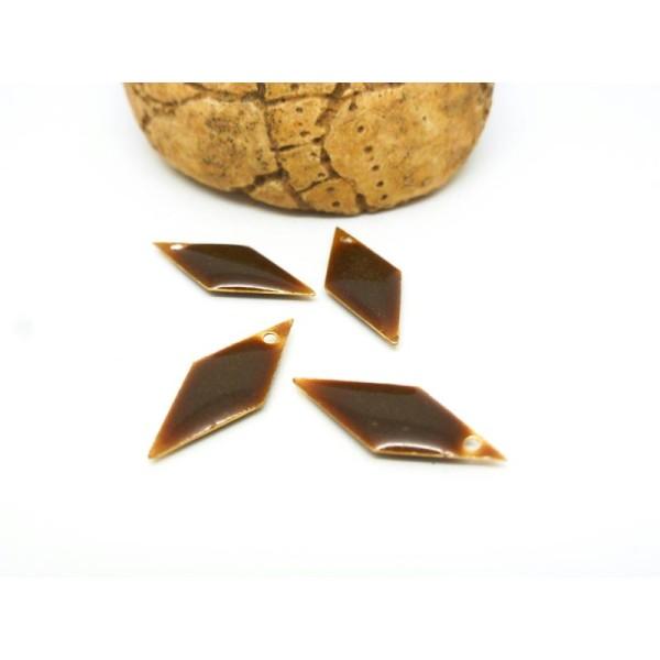 4 Breloques Sequins Losange Géométrique Marron Chocolat 20*8Mm - Résine Teintée 2 Faces - Photo n°1