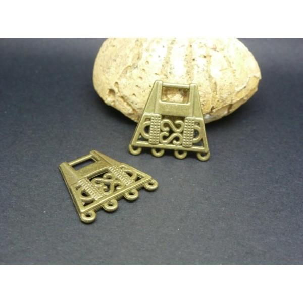 2 Connecteurs Ethniques Forme Trapèze 18*19Mm Métal Bronze - Photo n°1