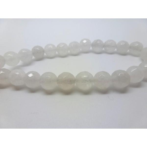 8 Perles Jade Teintées Blanc Rondes À Facettes 8Mm - Photo n°1
