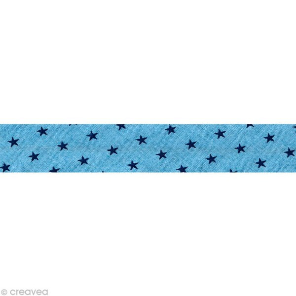 Biais Frou Frou Bleu intense - Etoilé - Au mètre (sur mesure) - Photo n°1