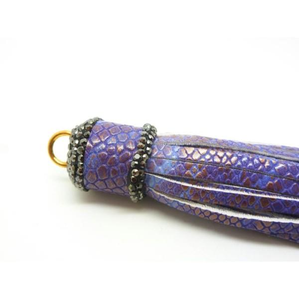 1 Grand Pompon Gland Violet Irisé Cuir Synthétique 93*19Mm - Brillant Argile Polymère - Photo n°2