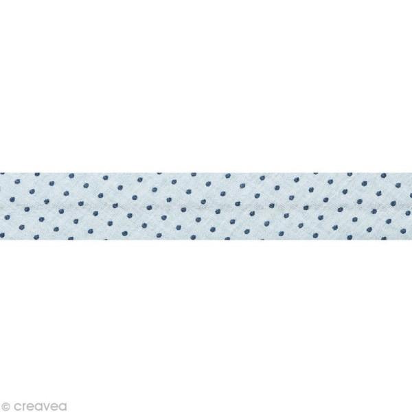 Biais Frou Frou Ardoise cendrée - Points - Au mètre (sur mesure) - Photo n°1
