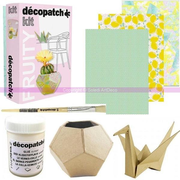 Kit Dinitiation Fruity Créatif Décopatch Grue Et Cache Pot Origami 9 Cm En Papier Mâché Avec Acces