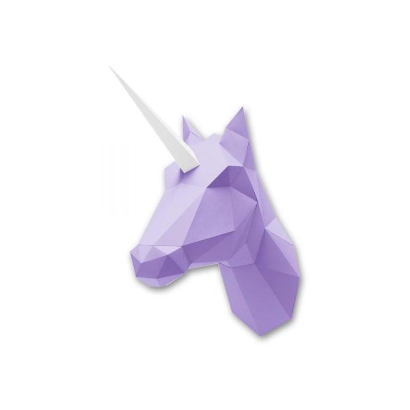 kit de pliage troph e origami licorne ou cheval papier purple fabriquer 55x23cm t te d. Black Bedroom Furniture Sets. Home Design Ideas