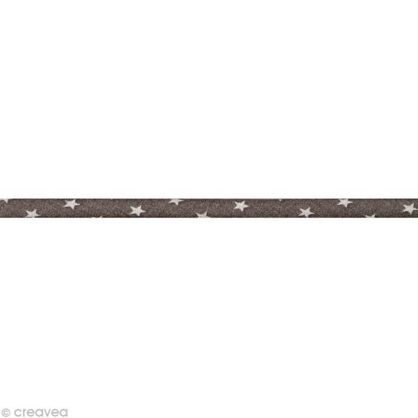 Cordon spaghetti - Frou-frou Taupe Etoile - 7 mm au mètre (sur mesure) - Photo n°1