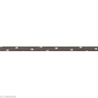 Cordon spaghetti - Frou-frou Taupe Etoile - 7 mm au mètre (sur mesure)