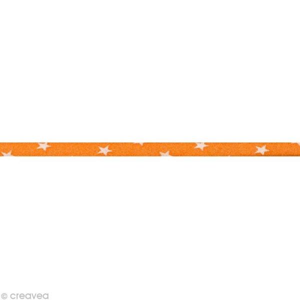 Cordon spaghetti - Frou-frou Douceur mandarine Etoile - 7 mm au mètre (sur mesure) - Photo n°1