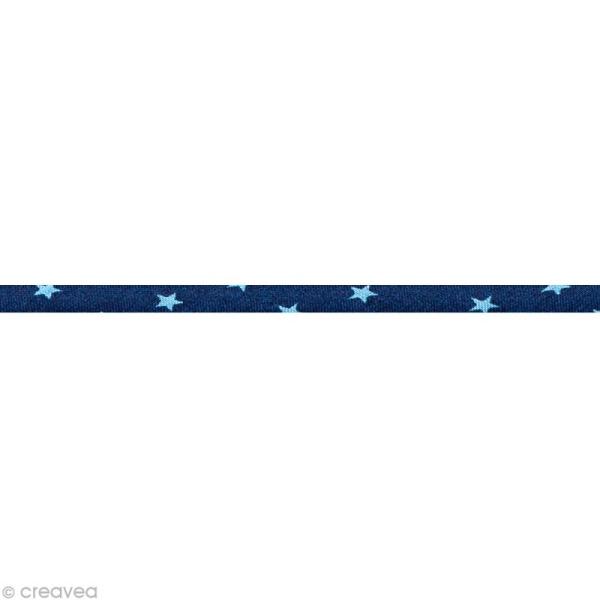 Cordon spaghetti - Frou-frou Bleu intense Etoile - 7 mm au mètre (sur mesure) - Photo n°1