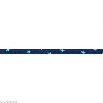 Cordon spaghetti - Frou-frou Bleu intense Etoile - 7 mm au mètre (sur mesure)