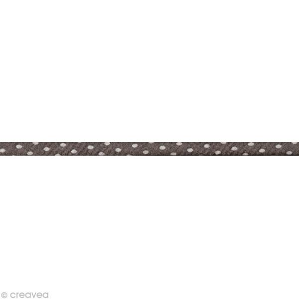 Cordon spaghetti - Frou-frou Taupe Pois - 7 mm au mètre (sur mesure) - Photo n°1