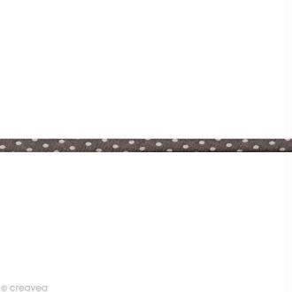 Cordon spaghetti - Frou-frou Taupe Pois - 7 mm au mètre (sur mesure)