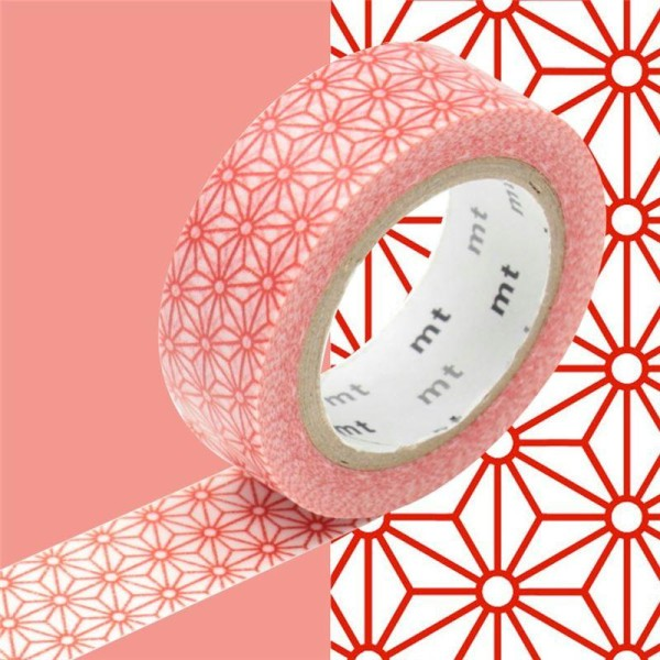 Masking Tape motif Asanoha Rouge Rouleau 15mm x 10m - Photo n°1