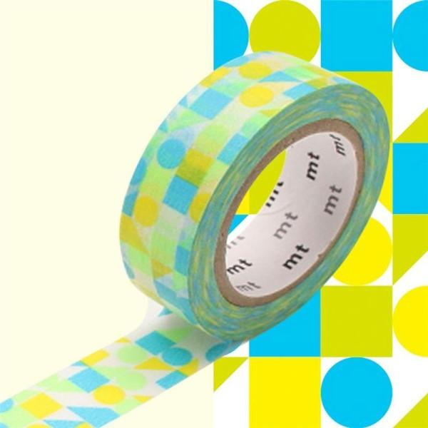 Masking Tape motif Mosaïque Bleu 15mm x 10m - Photo n°1