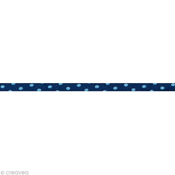 Cordon spaghetti - Frou-frou Bleu intense Pois - 7 mm au mètre (sur mesure) - Photo n°1