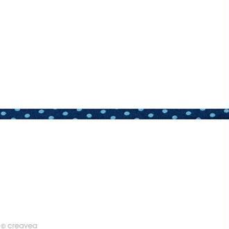 Cordon spaghetti - Frou-frou Bleu intense Pois - 7 mm au mètre (sur mesure)