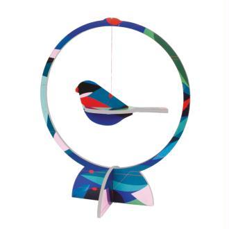 Mobile oiseau 1 pinson bleu en carton 21 cm Studioroof