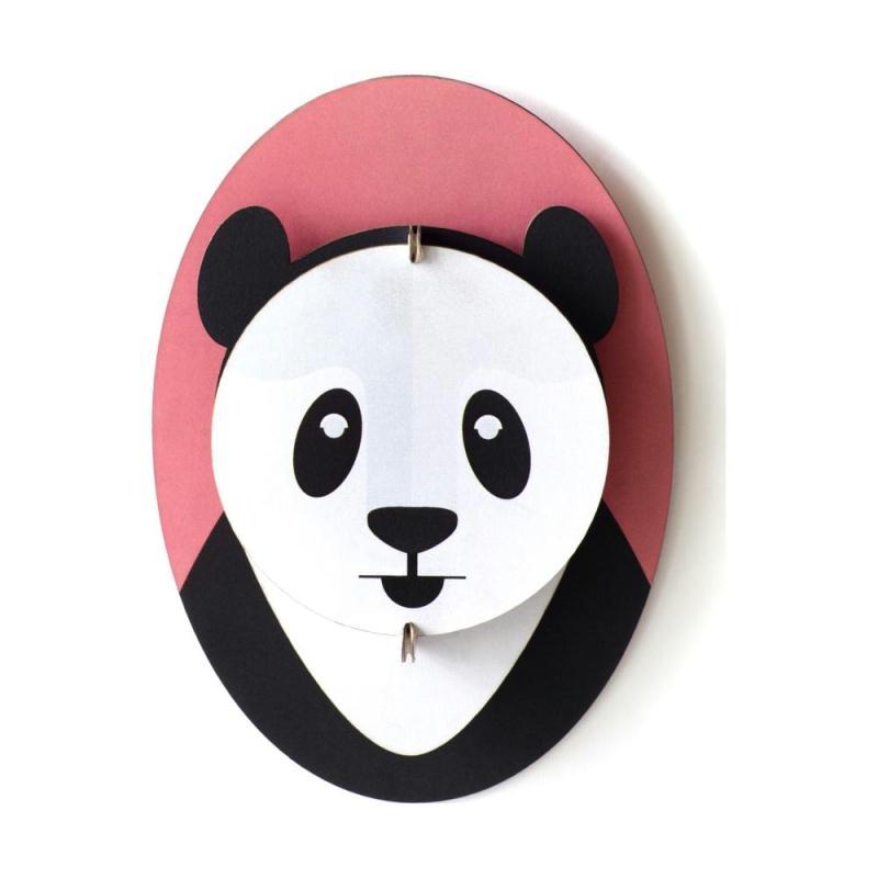 mini troph e t te de panda en carton 15 cm studioroof t te d 39 animaux et troph es creavea. Black Bedroom Furniture Sets. Home Design Ideas