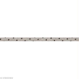Cordon spaghetti - Frou-frou Taupe Points - 7 mm au mètre (sur mesure)