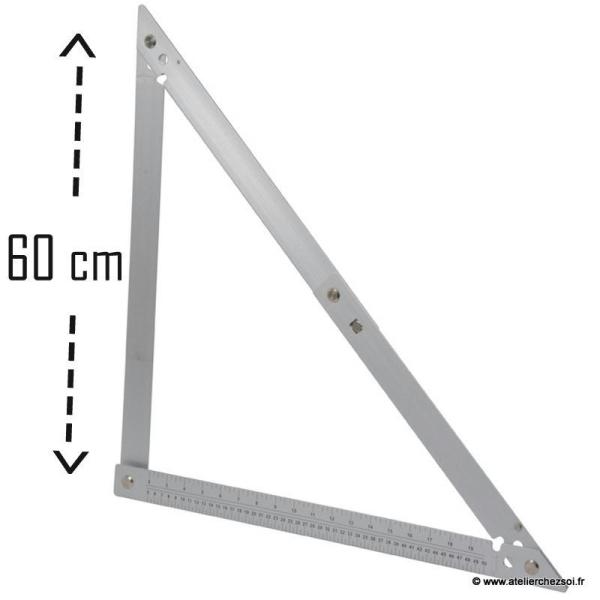 Grande equerre pliante 60 cm graduée aluminium - Photo n°1