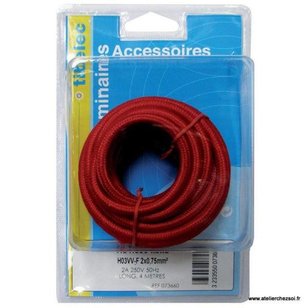 Cable électrique rond tissu rouge 4 mètres - Photo n°2