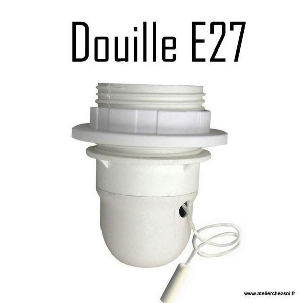 Douille électrique E27 blanche avec interrupteur à tirette 60W - Photo n°1
