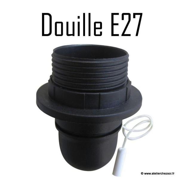 Douille électrique E27 noire avec interrupteur à tirette 60W - Photo n°1