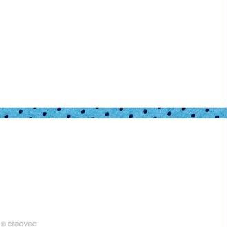 Cordon spaghetti - Frou-frou Bleu intense Points - 7 mm au mètre (sur mesure)