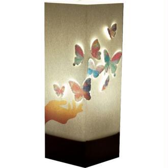 Lampe à poser Main et Papillons colorés WLamp