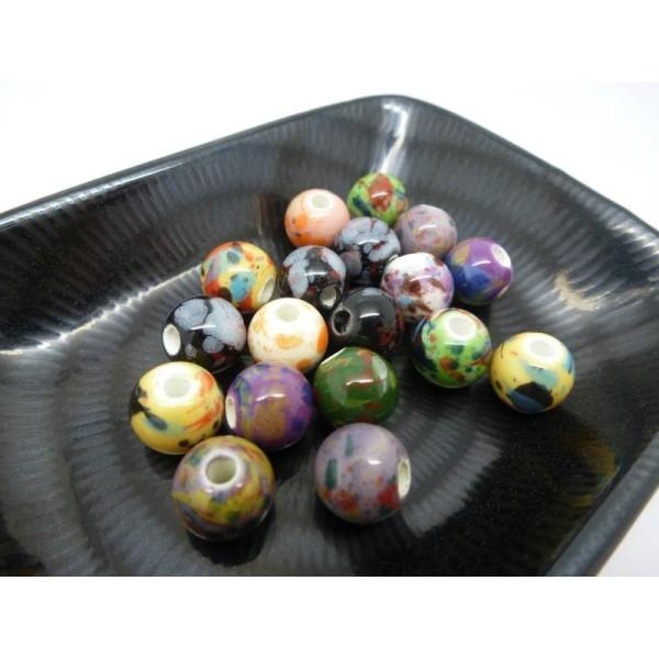 8 perles céramique rondes  marron création bijoux 10 mm