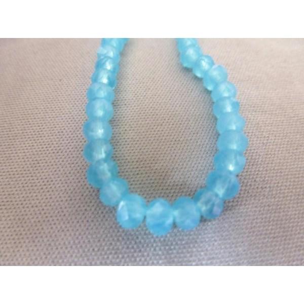 20 Perles Rondes Aplaties À Facettes 3*4Mm Turquoise Opale En Verre - Photo n°1
