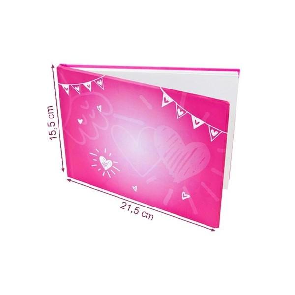Livre d'or Fuchsia Mariage ou Anniversaire, dim. 21,5 x 15,5 cm, imprimé romantique - Photo n°1