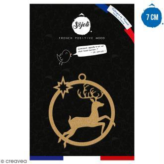 Suspension ronde Cerf en bois à décorer - 7 cm - Collection Noël
