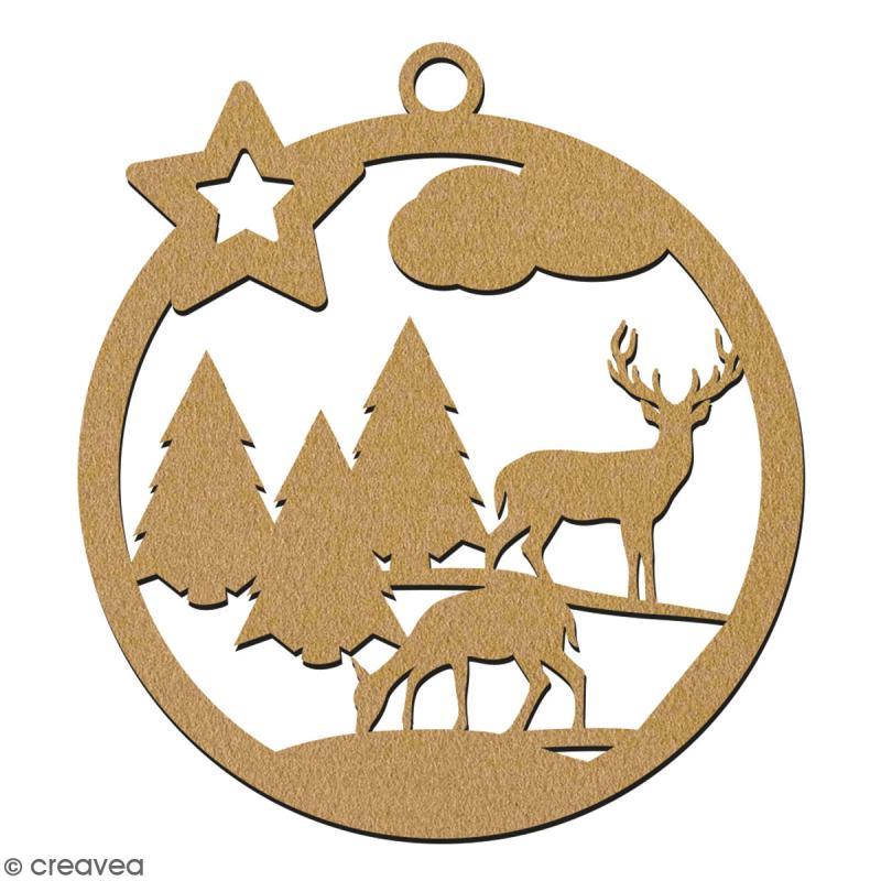 Suspension ronde Forêt et cerf en bois à décorer - 7 cm - Collection Noël - Photo n°2