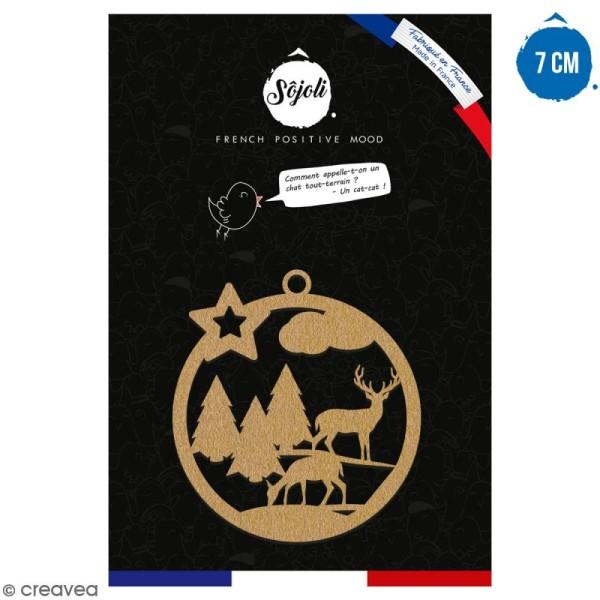 Suspension ronde Forêt et cerf en bois à décorer - 7 cm - Collection Noël - Photo n°1