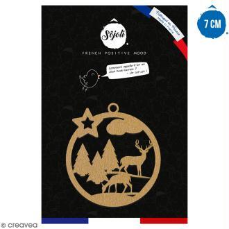 Suspension ronde Forêt et cerf en bois à décorer - 7 cm - Collection Noël
