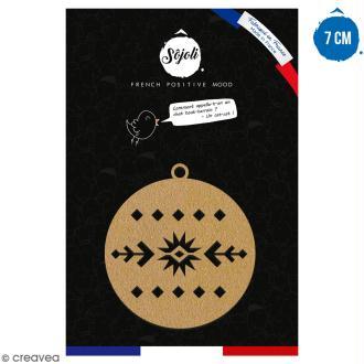 Suspension ronde Motif géométrique en bois à décorer - 7 cm - Collection Noël