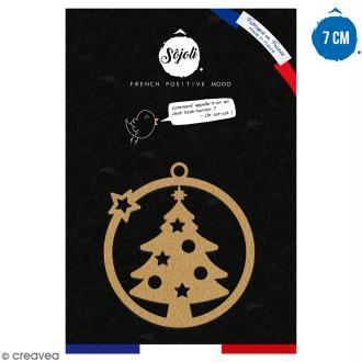 Suspension ronde Arbre de Noël ajouré en bois à décorer - 7 cm - Collection Noël