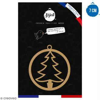 Suspension ronde Arbre de Noël en bois à décorer - 7 cm - Collection Noël