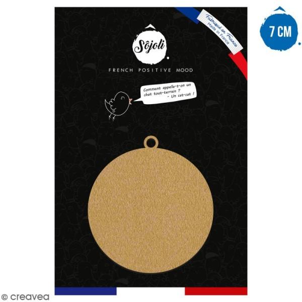 Suspension ronde Boule en bois à décorer - 7 cm - Collection Noël - Photo n°1