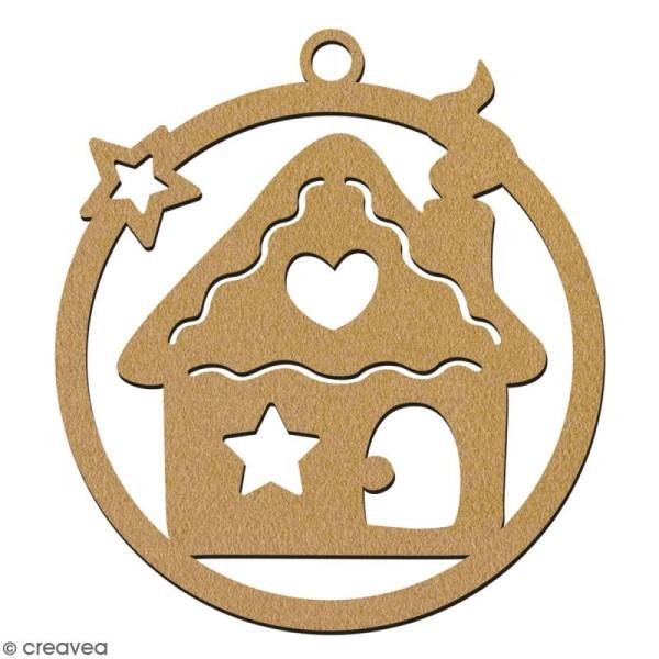 Suspension ronde Maison pain d'épices en bois à décorer - 7 cm - Collection Noël - Photo n°2