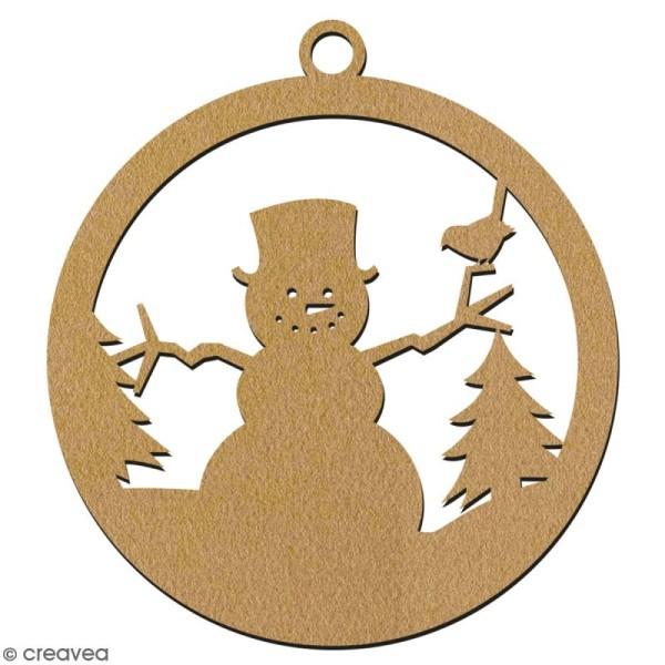 Suspension ronde Bonhomme de neige en bois à décorer - 7 cm - Collection Noël - Photo n°2