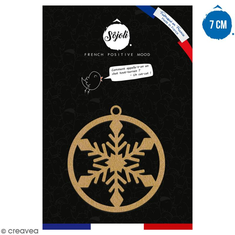 Suspension ronde Flocon en bois à décorer - 7 cm - Collection Noël - Photo n°1