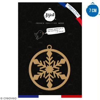 Suspension ronde Flocon en bois à décorer - 7 cm - Collection Noël