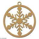 Suspension ronde Flocon en bois à décorer - 7 cm - Collection Noël - Photo n°2