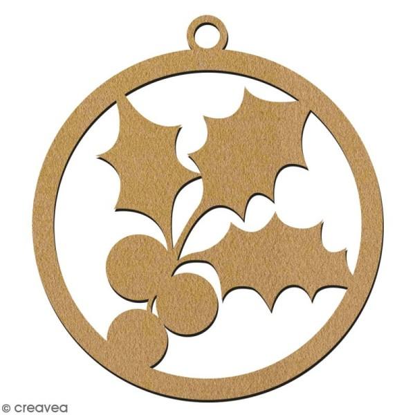 Suspension ronde Houx en bois à décorer - 7 cm - Collection Noël - Photo n°2