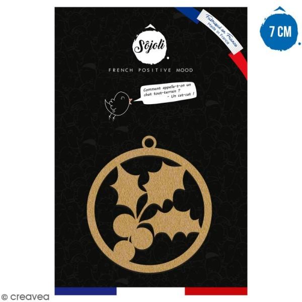 Suspension ronde Houx en bois à décorer - 7 cm - Collection Noël - Photo n°1