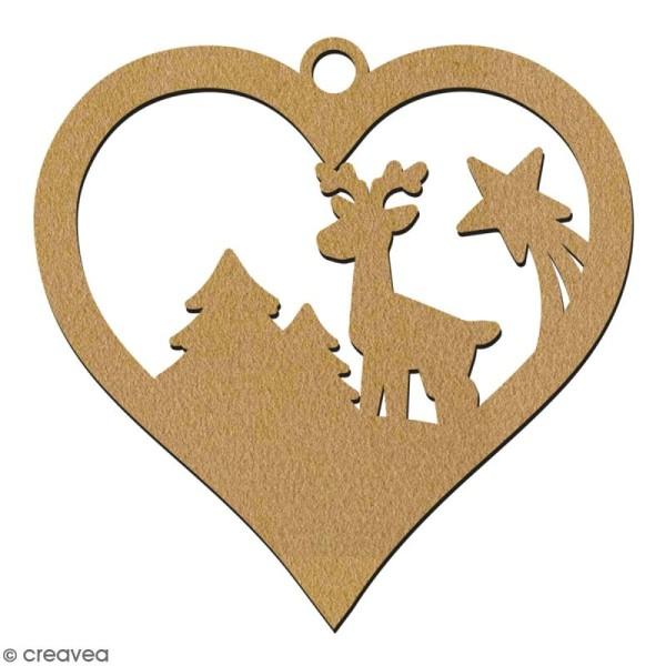 Suspension coeur Cerf et forêt en bois à décorer - 7 cm - Collection Noël - Photo n°2