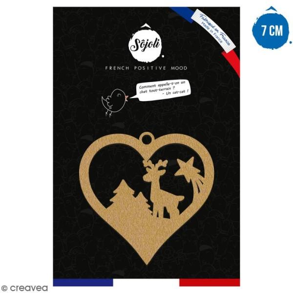 Suspension coeur Cerf et forêt en bois à décorer - 7 cm - Collection Noël - Photo n°1