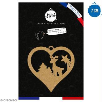 Suspension coeur Cerf et forêt en bois à décorer - 7 cm - Collection Noël